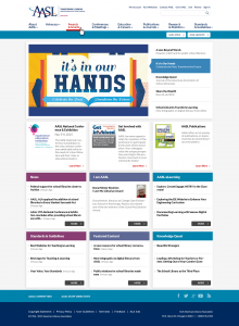 Responsive AASL site redesign mockup with new features, like social media Follow icons.