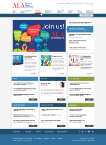 Responsive mockup of the ALA homepage showing new features, such as social media follow icons.